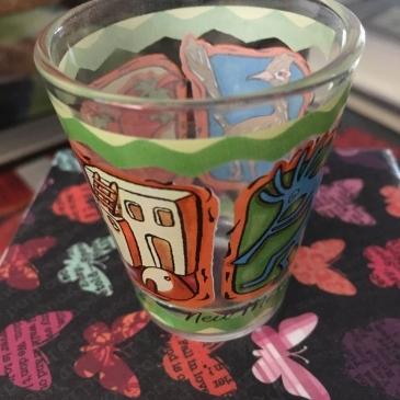 Empty Tequila shot glass.